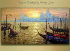 Original Art  Sunset in Venice  Landscape  by spirosart on Etsy, $369.00