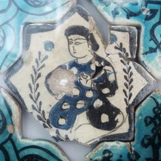 Turkish Seljuk Figural Design Tile From Konya Karatay Medrese(School). The Turkish Seljuk tiles now displayed at the Karatay Medrese in Konya originally decorated the walls of the century Kubadabad Palace on the shores of Lake Beyşehir. Turkish Tiles, Turkish Art, Mosaic Art, Mosaic Tiles, Ceramic Pottery, Pottery Art, Ancient Persian, Antique Tiles, Islamic Art