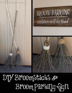 DIY: Make your own Witch Brooms and Halloween Signs.  But, for this Hocus Pocus Sanderson Sisters Halloween Party, don't forget the flying vacuum!