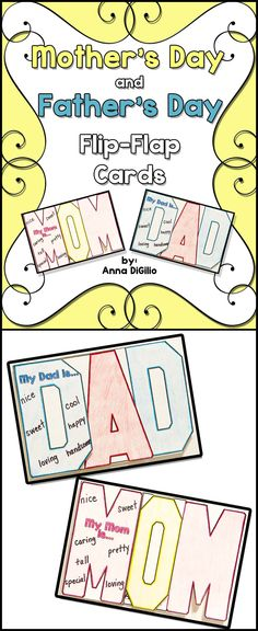 Mother's Day and Father's Day WORD Flip-Flap Cards.....Try doing something Fresh and New to celebrate these holidays in your classroom! $