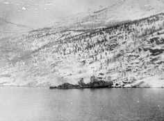 GERMAN INVASION NORWAY 1940. The German destroyer GEORG THIELE beached in Rombaksfjord off Sildvika, after the naval action off Narvik, 13 April 1940.