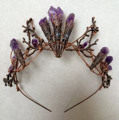 The ELVIRA Crown Witchy Woodland Gothic Amethyst by HowlingMoonUK