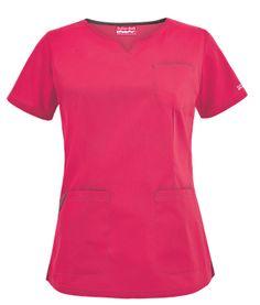 Butter-Soft Scrubs by UA™ Wide V-Neck Top Style # UA938C  #uniformadvantage #uascrubs #buttersoft #pink #hotpink #scrubs