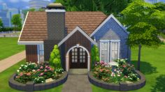 Owlsmoor Cottage Starter at Totally Sims via Sims 4 Updates Sims 2 House, Sims 4 House Plans, Sims 4 House Building, Sims 4 House Design, Lotes The Sims 4, Sims 4 Family, Sims 4 Bedroom, Casas The Sims 4, House Games