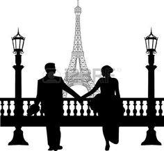 paris eiffel tower night: Pareja de boda en frente de la torre Eiffel en París silueta, uno en la serie de imágenes similares