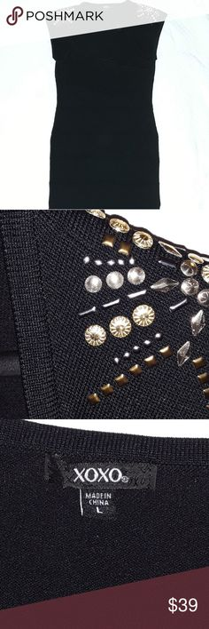 d5bcddd3808df Xoxo little black dress with studs size L Great used condition Woman s size  Large Silohoute fitted Feel free to ask questions or make an offer Happy  Poshing ...