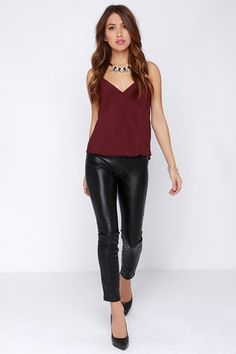Chic Burgundy Top - Wrap Top - Tank Top - $37.00