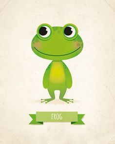 Kids wall art frog print frog nursery by IreneGoughPrints on Etsy
