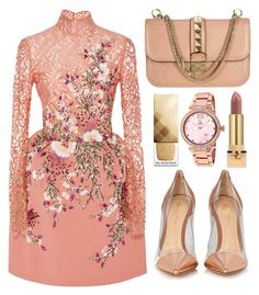 """""""Holiday Dress"""" by jomashop ❤ liked on Polyvore featuring Georges Hobeika, Jivago, Valentino, Yves Saint Laurent, Burberry, Gianvito Rossi, Pink, neutral and longsleeve"""
