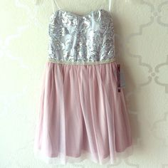 Sequin Rhinestone Pink And Silver Dress Size 3