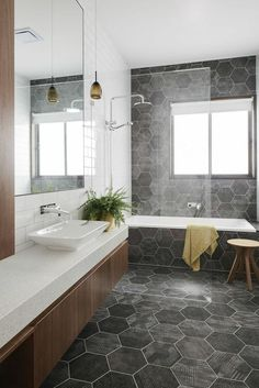 Know the 9 Best Bathroom Flooring Options for Your Home geometric tiles in bathroom [simple decoration ideas, interior design, home design, decoration, dec Bathroom Flooring Options, Best Bathroom Flooring, Bathroom Floor Tiles, Bathroom Renos, Bathroom Renovations, Tile Floor, Bathroom Grey, Bathroom Ideas, Vanity Bathroom