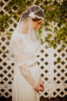 Tulle veil cap with crystal beaded alencon by mignonnehandmade, $145.00    Krista I think this is pretty...