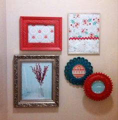 Red  and turquoise bathroom wall collage. #framedfabric #spraypaint #DIY