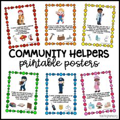 Community Helpers Printable Posters Learning about community helpers is important for little ones. They need to know the types of jobs people do to help the community keep running. I created a set of community helpers printable posters to help teach this. Community Helpers Lesson Plan, Community Helpers Activities, Community Helpers Kindergarten, Preschool Activities, Space Activities, Preschool Education, Vocabulary Activities, Preschool Lessons, Alphabet Activities