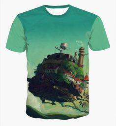 Klassische Anime Schloss im Himmel T-shirt Männer Frauen Sommer Casual t-shirt Hipster 3D t-shirt Niedlichen Cartoon t-shirts tees
