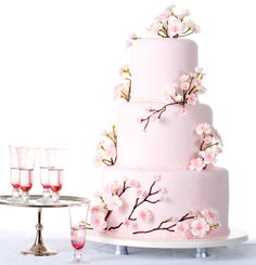 cherry blossom wedding cake... very pretty concept for a cake.  Would be lovely for showers, as well, or Mother's Day :)