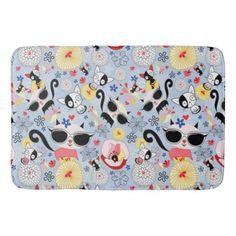 Cool Summer Kitty Bathroom Mat