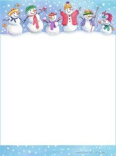 Snowmen on stationery Christmas Border, Christmas Frames, Christmas Paper, Free Printable Stationery, Christmas Stationery, Theme Noel, Borders For Paper, Writing Paper, Christmas Printables