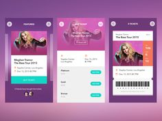 Last week, I made a shot for event app. Maybe this shot will make you clearer what I have in mind. Every artist has their own colors for their page. Ticket screen inspired by ticket concept by @Pio...