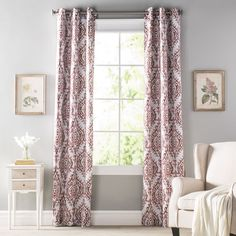 Add a dash of visual intrigue and boho-chic style to any space with this eye-catching curtain panel set. Crafted from polyester with aluminum grommet hardware, this understated curtain panel brings a durable touch to your look, while its room-darkening design lets you keep that pesky sun out on lazy mornings sleeping in. The bold Damask print brings a worldly twist to the look, while its removable design makes it perfect for dry cleaning.
