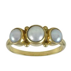 Georg Jensen Pearl Gold Ring No. 1003  | From a unique collection of vintage three-stone rings at https://www.1stdibs.com/jewelry/rings/three-stone-rings/