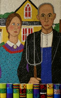 American Gothic recreated by using duct tape.