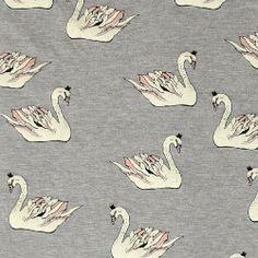 Stretch jersey grey melange w swans