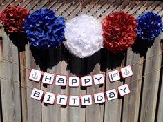 Happy Birthday Banners, Birthday Decorations, Boy Birthday, Sailor Party, Tissue Pom Poms, Nautical Theme, 4th Of July Wreath, First Birthdays, Etsy