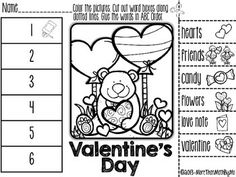 Valentine's Day ABC Order Cut and Paste Printable---FREEBIE