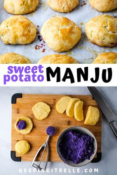 Buttery, flaky dough encasing a sweet potato filling and baked to golden brown perfection is what makes this Japanese sweet potato manju recipe so amazing. Hawaiian Desserts, Asian Desserts, Healthy Dessert Recipes, Sweets Recipes, Baking Recipes, Japanese Desserts, Japanese Cookies, Japanese Pastries, Chinese Desserts