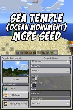Ocean Monument/Sea Temple Seed for Minecraft Pocket Edition: NICELIST Minecraft Pe Seeds, Minecraft Houses Xbox, Minecraft Video Games, Minecraft Houses Blueprints, Minecraft Tips, Cool Minecraft, Minecraft Creations, Minecraft Buildings, Minecraft Architecture