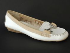 Etienne Aigner Women's ARNIE Shoes White/Beige Leather Loafers Size 8.5