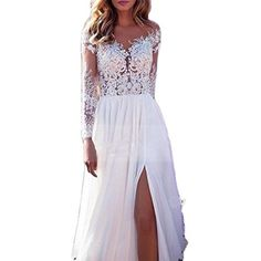 online shopping for Nicefashion Scoop Long Lace Sleeves Chiffon Sheer Back Boho Beach Wedding Dress from top store. See new offer for Nicefashion Scoop Long Lace Sleeves Chiffon Sheer Back Boho Beach Wedding Dress Baby Blue Prom Dresses, Lavender Prom Dresses, Prom Dresses Canada, Orange Prom Dresses, Floral Prom Dresses, Princess Prom Dresses, Pink Prom Dresses, Backless Prom Dresses, Wedding Dresses