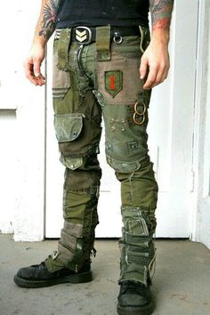 Bone Black Army Pants - Made from vintage and recycled military gear. Each piece is one of a kind and will very depending on available military gear and patches. Hand made in Los Angeles! Military Gear, Military Fashion, Military Jacket, Mens Fashion, Post Apocalyptic Costume, Post Apocalyptic Fashion, Post Apocalyptic Clothing, Army Pants, Tactical Clothing
