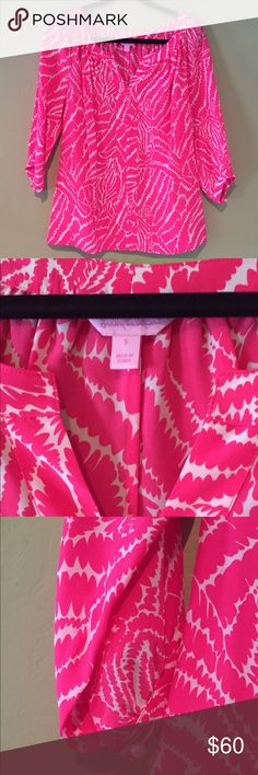 """🌴 Lilly Pulitzer 'Show Your Stripes' Silk Top Like new 3/4 sleeve length, 100% silk top in Splash Pink with pearl button details. Zebra print called """"Show Your Stripes"""". Lilly Pulitzer Tops Blouses"""