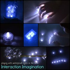 """Fun with waterproof lights from Interaction Imagination ("""",) Preschool Science, Preschool Crafts, Interactive Mirror, Sand And Water Table, Water Play, Mirror With Lights, Reggio, After Dark, Light And Shadow"""