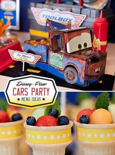 } Disney Cars Party Food Ideas // Hostess with the Mostess® Cars Party Foods, Disney Party Foods, Disney Cars Party, Disney Cars Birthday, Party Food 3rd Birthday, Cars Birthday Parties, Birthday Ideas, Lightning Mcqueen Party, Auto Party