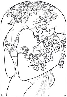 Free coloring page download of Le Fruits by Alphonse Mucha from the Alphonse Mucha Coloring Book.