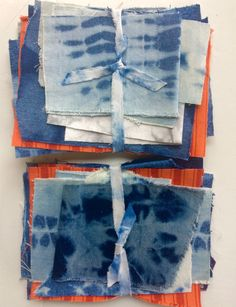 This listing is for a bundle of 15 small pieces of up-cycled denim, which have been discharged (had color removed), or been over dyed. The
