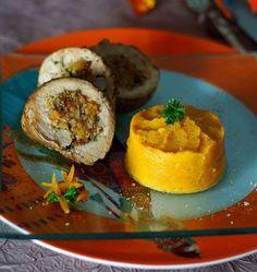 Photo de la recette : Filet mignon farci au pain d'épices et fruits secs, purée de patates douces