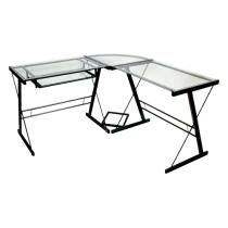 Walker Edison - Imperial L-Shape Computer Desk with Sliding Keyboard Tray - Clear/Black Model: D51Z29 SKU: 6001365