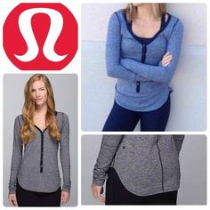 Lululemon awesome Henley Super-soft Rulu™ Light fabric is sweat-wicking, four-way stretch and breathable. Deep button opening and V-neck design give sticky skin room to breathe. Thumbholes help keep your sleeves down and hands warm. Slim fit and long length for easy layering over a tank or under a jacket. Great condition lululemon athletica Tops Tees - Long Sleeve