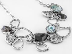 Artisan Collection Of Israel(Tm) Smokey Quartz, Roman Glass And Onyx Silver Bib Necklace