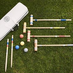 A staple of backyard entertaining in America for more than 100 years, croquet is as popular as ever. Packaged in a canvas carrying case, this classic set includes everything you'll need for a four-person match: mallets, balls, pegs, wickets and instructions for play.