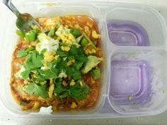 Lunchbox #8 @EasyLunchboxes--Chicken Enchilada Stuffed Zucchini Boats--Sometimes you just gotta have leftovers for lunch!