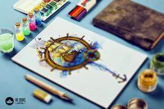 desenho para tattoo aquarela caravela