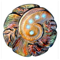 Button--Uncommon C. Carved Rococo Iridescent Pearl with Turquoise Glass Pierreries Cool Buttons, Types Of Buttons, Vintage Buttons, Button Art, Button Crafts, Turquoise Glass, Fabric Beads, Linens And Lace, Mother Of Pearl Buttons