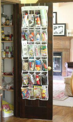 DIY - Over the door shoe rack for toy storage and craft supplies.