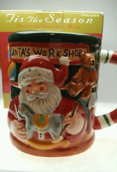 Tis the Season Holiday Ceramic Coffee Mug Cup Santa's Workshop CIB 20 fl oz