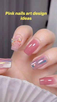 Nail Art Designs Videos, Gel Nail Designs, Chic Nails, Stylish Nails, Asian Nails, Asian Nail Art, Korean Nails, Rave Nails, Soft Nails